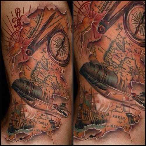 map tattoos photo - 16
