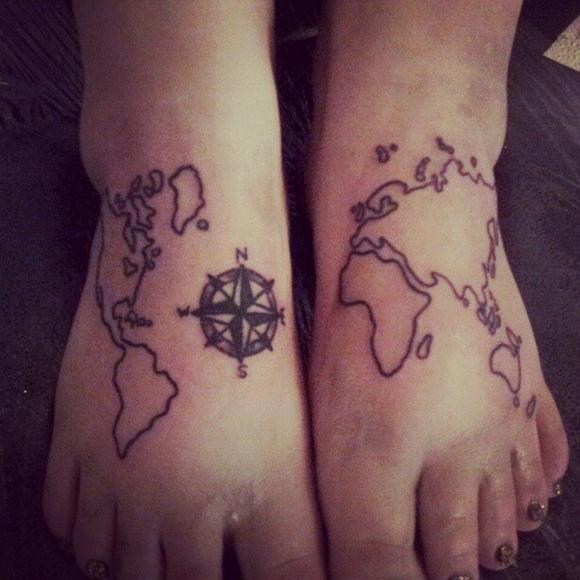 map tattoos photo - 5
