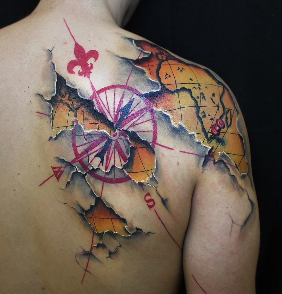 map tattoos photo - 6