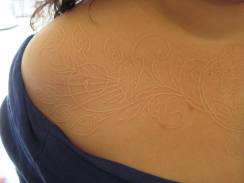 white ink tattoos photo - 11