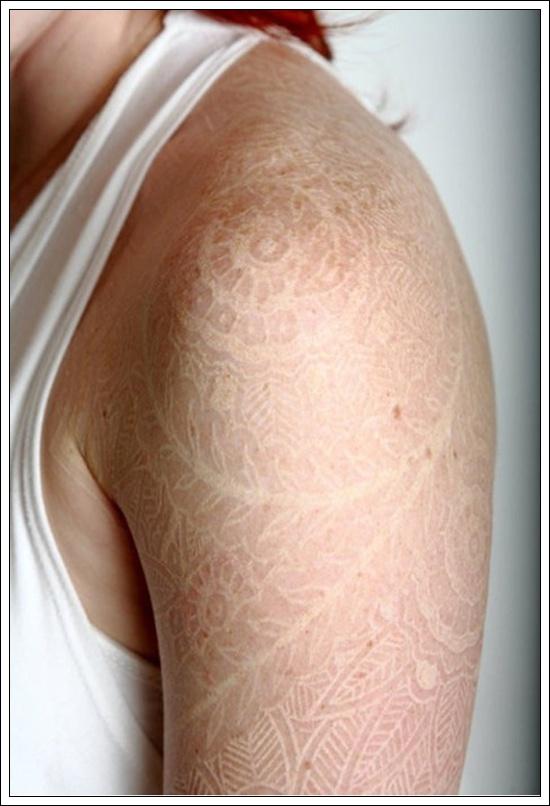 white ink tattoos photo - 13