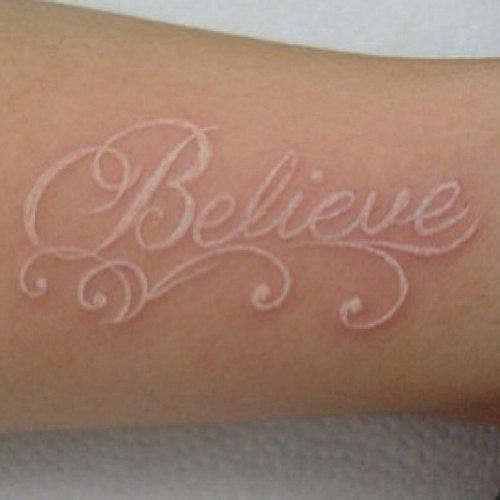 white ink tattoos photo - 2