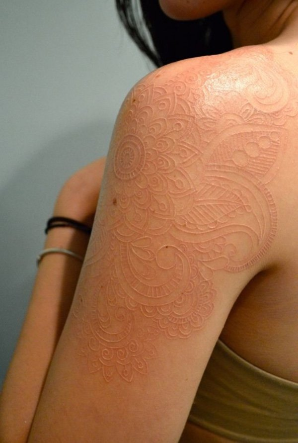 white ink tattoos photo - 33